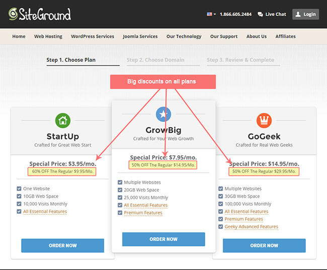 signing up to siteground web hosting