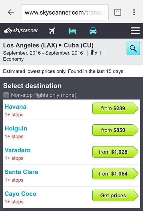 cheap flights to Cuba